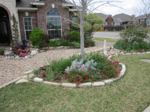 Her is another case where sod, stone and drought resistant plants make a luch landscape.
