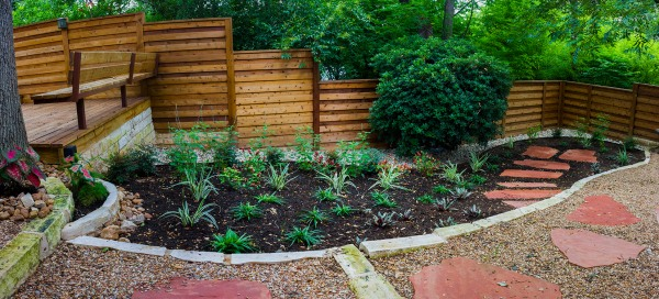 This garden may look sparse now but it will be lush and full in two years.
